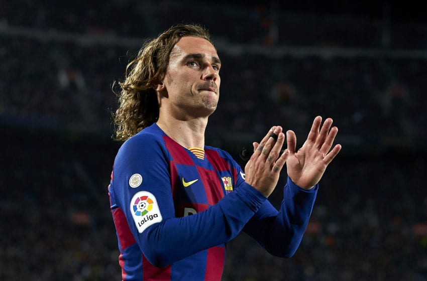 BARCELONA, SPAIN - MARCH 07: Antoine Griezmann of FC Barcelona acknowledges the supporters during the Liga match between FC Barcelona and Real Sociedad at Camp Nou on March 07, 2020 in Barcelona, Spain. (Photo by Pedro Salado/Quality Sport Images/Getty Images)
