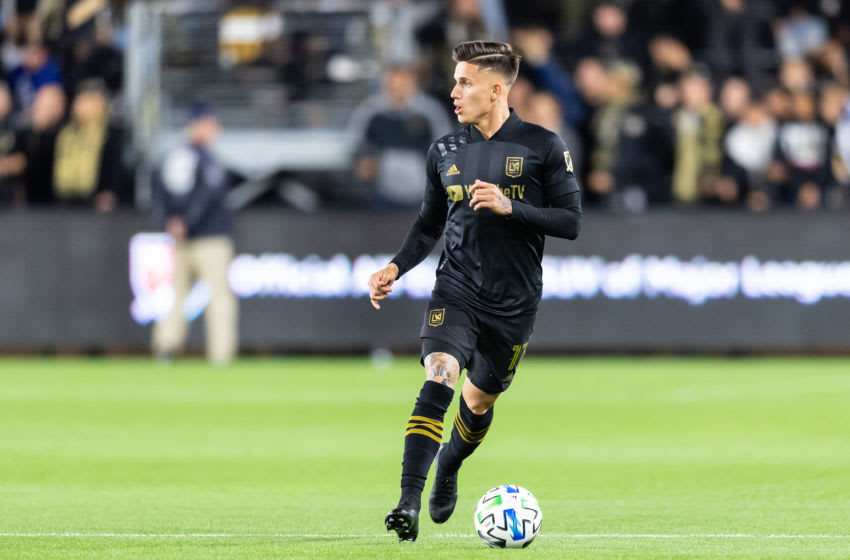 LOS ANGELES, CA - MARCH 08: Brian Rodriguez #17 of LAFC against Philadelphia Union during a game between Philadelphia Union and Los Angeles FC at Banc of California Stadium on March 08, 2020 in Los Angeles, California. (Photo by Rob Ericson/ISI Photos/Getty Images)