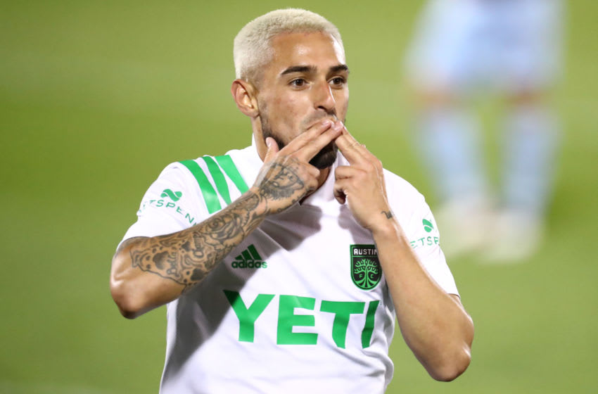 COMMERCE CITY, CO - APRIL 24: Diego Fagundez #14 of Austin FC reacts to his goal against the Colorado Rapids during the second half at Dick's Sporting Goods Park on April 24, 2021 in Commerce City, Colorado. Fagundezs goal was the first in Austin FC history. (Photo by C. Morgan Engel/Getty Images)