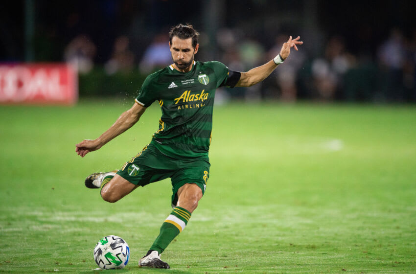 LAKE BUENA VISTA, FL - AUGUST 11: Diego Valeri #8 of the Portland Timbers kicks the ball during a game between Orlando City SC and Portland Timbers at ESPN Wide World of Sports on August 11, 2020 in Lake Buena Vista, Florida. (Photo by Jeremy Reper/ISI Photos/Getty Images)