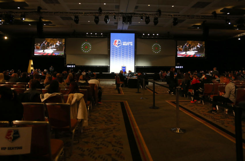 15 January 2016: The 2016 NWSL College Draft was held at The Baltimore Convention Center in Baltimore, Maryland as part of the annual NSCAA Convention. (Photograph by Andy Mead/YCJ/Icon Sportswire) (Photo by Andy Mead/YCJ/Icon Sportswire/Corbis via Getty Images)