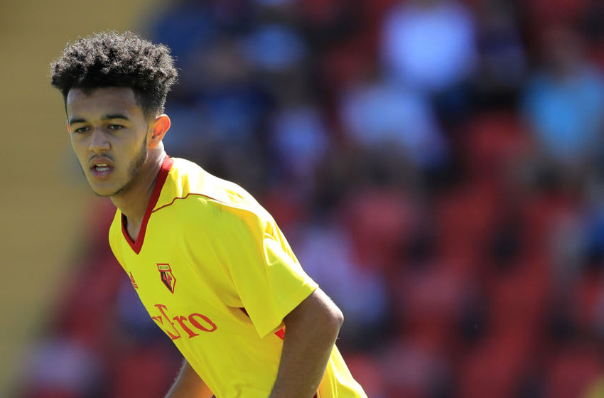 WOKING, ENGLAND - JULY 08: Dion Perriera of Watford in action during the pre-season friendly match between Woking and Watford U23 at the Laithwaite Community Stadium on July 08, 2017 in Woking, England. (Photo by Richard Heathcote/Getty Images)