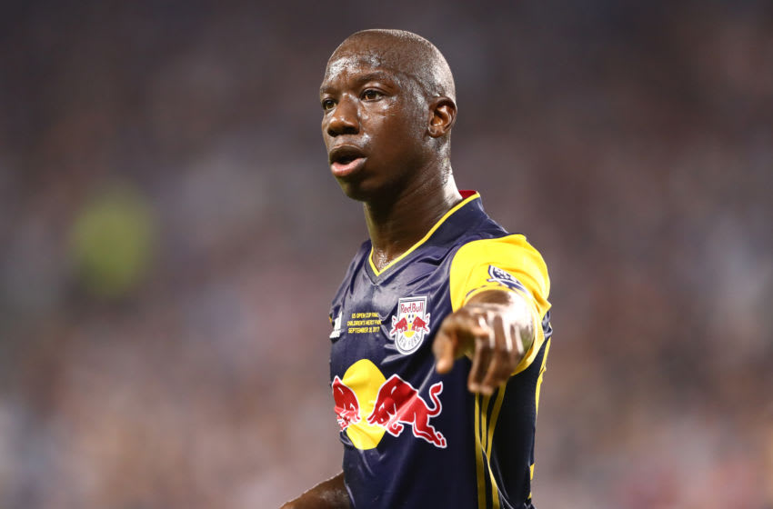 KANSAS CITY, KS - SEPTEMBER 20: Bradley Wright-Phillips #99 of New York Red Bulls directs his teammates in the US Open Cup Final match against Sporting Kansas City at Children's Mercy Park on September 20, 2017 in Kansas City, Kansas. (Photo by Kevin Sabitus/New York Red Bulls via Getty Images)