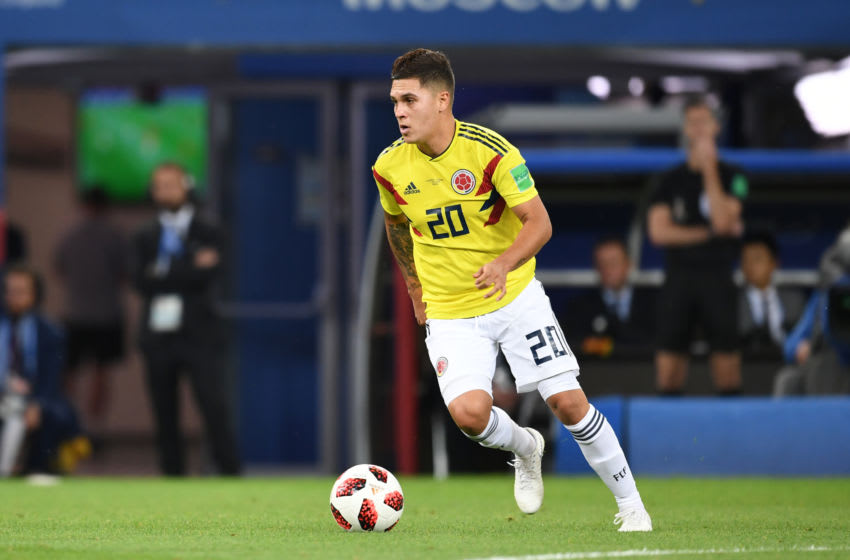 MOSCOW ,RUSSIA - JULY 3: Juan Quintero of Colombia in action during the 2018 FIFA World Cup Russia Round of 16 match between Colombia and England at Spartak Stadium on July 3, 2018 in Moscow, Russia. (Photo by Etsuo Hara/Getty Images)