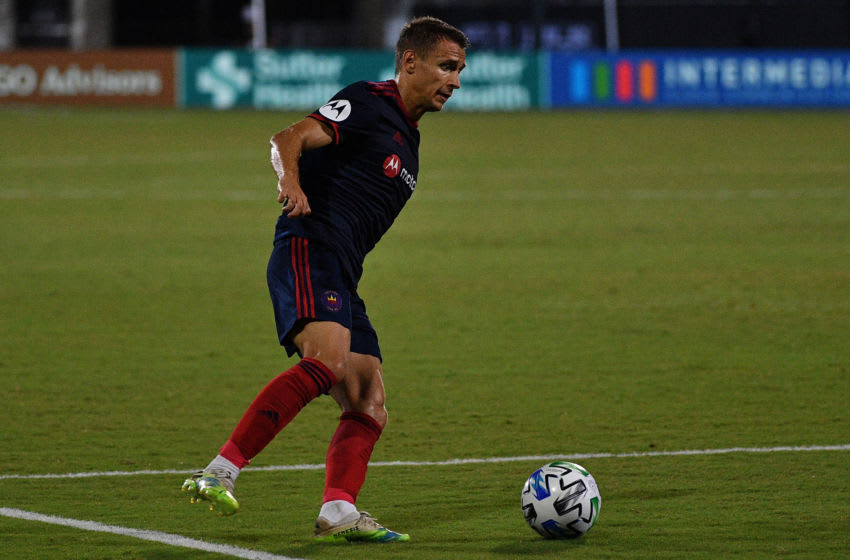 REUNION, FLORIDA - JULY 19: Boris Sekulic #2 of Chicago Fire FC controls the ball against San Jose Earthquakes during a Group B match as part of MLS is Back Tournament at ESPN Wide World of Sports Complex on July 19, 2020 in Reunion, Florida. (Photo by Mark Brown/Getty Images)