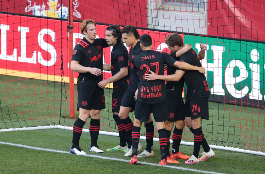 Nov 8, 2020; Harrison, New Jersey, USA; New York Red Bulls forward Tom Barlow (74) celebrates his goal with teammates during the first half against the Toronto FC at Red Bull Arena. Mandatory Credit: Vincent Carchietta-USA TODAY Sports
