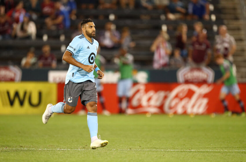 Minnesota United FC forward Ramon Abila leaves the field after receiving a red card. Mandatory Credit: C. Morgan Engel-USA TODAY Sports