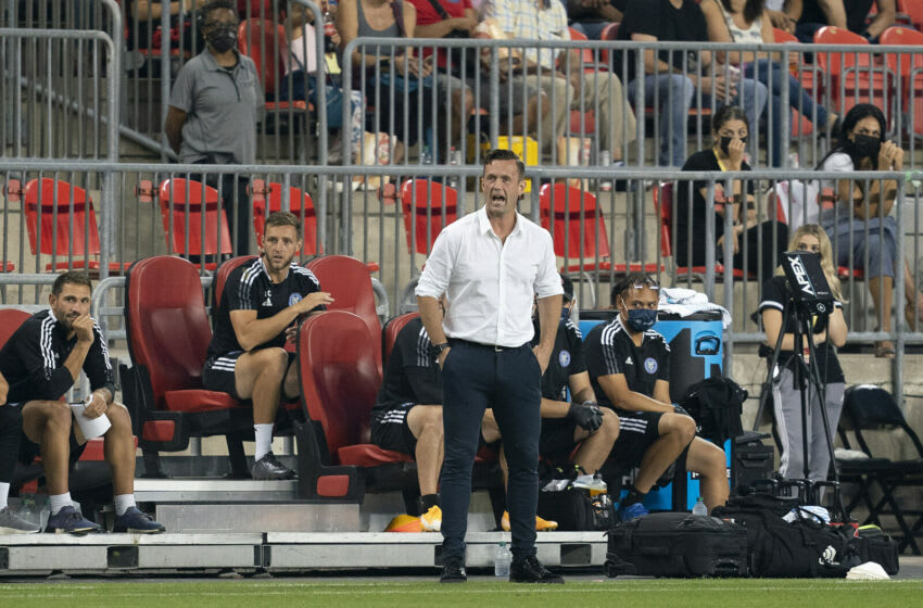 New York City head coach Ronny Deila shouts to his team during the first half against Toronto FC at BMO Field. Mandatory Credit: Nick Turchiaro-USA TODAY Sports