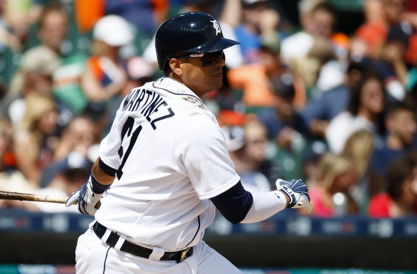 Jun 5, 2016; Detroit, MI, USA; Detroit Tigers designated hitter Victor Martinez (41) hits a single in the seventh inning against the Chicago White Sox at Comerica Park. Mandatory Credit: Rick Osentoski-USA TODAY Sports