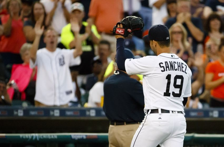 Jul 19, 2016; Detroit, MI, USA; Detroit Tigers starting pitcher Anibal Sanchez (19) wave to the fans as he walks off the field after being relieved in the seventh inning against the Minnesota Twins at Comerica Park. Mandatory Credit: Rick Osentoski-USA TODAY Sports