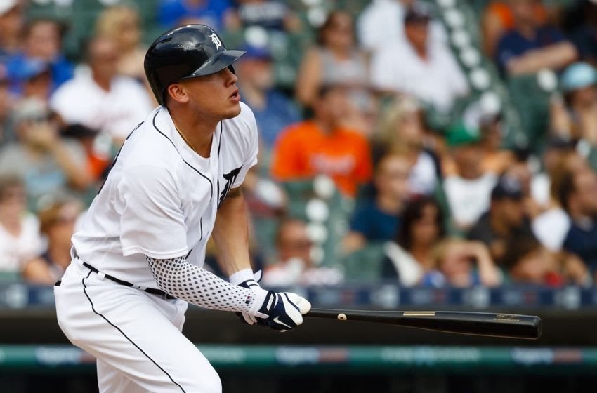Aug 31, 2016; Detroit, MI, USA; Detroit Tigers center fielder JaCoby Jones (40) hits a double in the ninth inning against the Chicago White Sox at Comerica Park. Detroit won 3-2. Mandatory Credit: Rick Osentoski-USA TODAY Sports