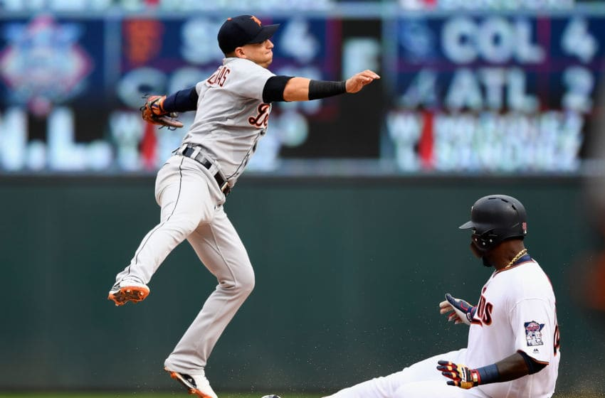 MINNEAPOLIS, MN - AUGUST 19: Miguel Sano #22 of the Minnesota Twins slides safely into second base as Jose Iglesias #1 of the Detroit Tigers fields the ball during the eighth inning of the game on August 19, 2018 at Target Field in Minneapolis, Minnesota. The Twins defeated the Tigers 5-4. (Photo by Hannah Foslien/Getty Images)