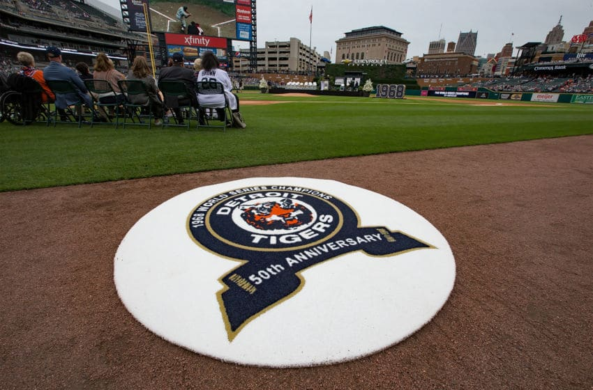 DETROIT, MI - SEPTEMBER 08: The commemorative batting circle that will be used honoring the 50th anniversary of the 1968 Detroit Tigers World Series before a MLB game against the St. Louis Cardinals at Comerica Park on September 8, 2018 in Detroit, Michigan. (Photo by Dave Reginek/Getty Images)