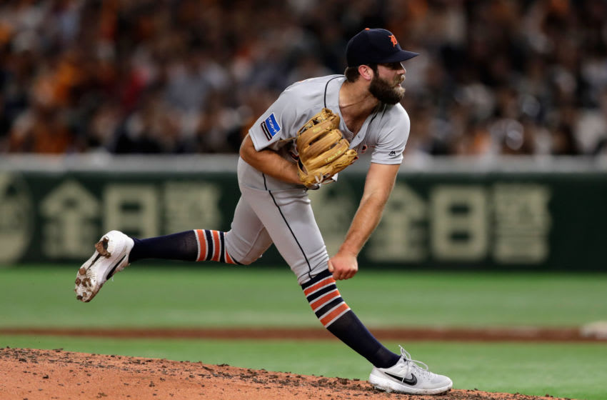 TOKYO, JAPAN - NOVEMBER 08: Pitcher Daniel Norris #44 of the Detroit Tigers throws in the bottom of 3rd inning during the exhibition game between Yomiuri Giants and the MLB All Stars at Tokyo Dome on November 8, 2018 in Tokyo, Japan. (Photo by Kiyoshi Ota/Getty Images)