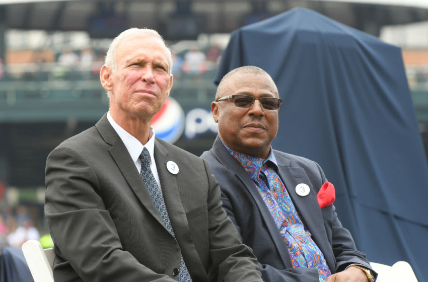 DETROIT, MI - AUGUST 26: 2018 Baseball Hall-of-Fame inductee and former Detroit Tigers shortstop Alan Trammell (L) sits with former Tigers teammate Lou Whitaker during the ceremony to retire Trammell's number 3 jersey prior to the game against the Chicago White Sox at Comerica Park on August 26, 2018 in Detroit, Michigan. The White Sox defeated the Tigers 7-2. (Photo by Mark Cunningham/MLB Photos via Getty Images)