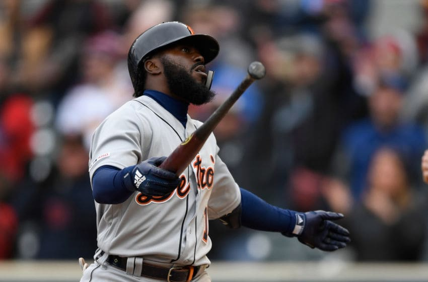 MINNEAPOLIS, MN - APRIL 13: Josh Harrison #1 of the Detroit Tigers reacts to striking out against the Minnesota Twins to end the game on April 13, 2019 at Target Field in Minneapolis, Minnesota. The Twins defeated the Tigers 4-3. (Photo by Hannah Foslien/Getty Images)