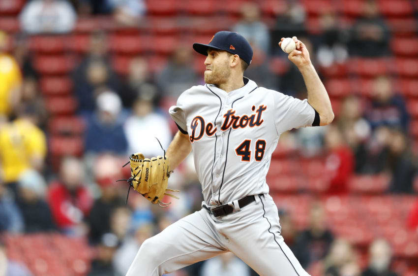 BOSTON, MASSACHUSETTS - APRIL 23: Starting pitcher Matthew Boyd #48 of the Detroit Tigers pitches in the bottom of the first inning of game one of the doubleheader against the Boston Red Sox at Fenway Park on April 23, 2019 in Boston, Massachusetts. (Photo by Omar Rawlings/Getty Images)