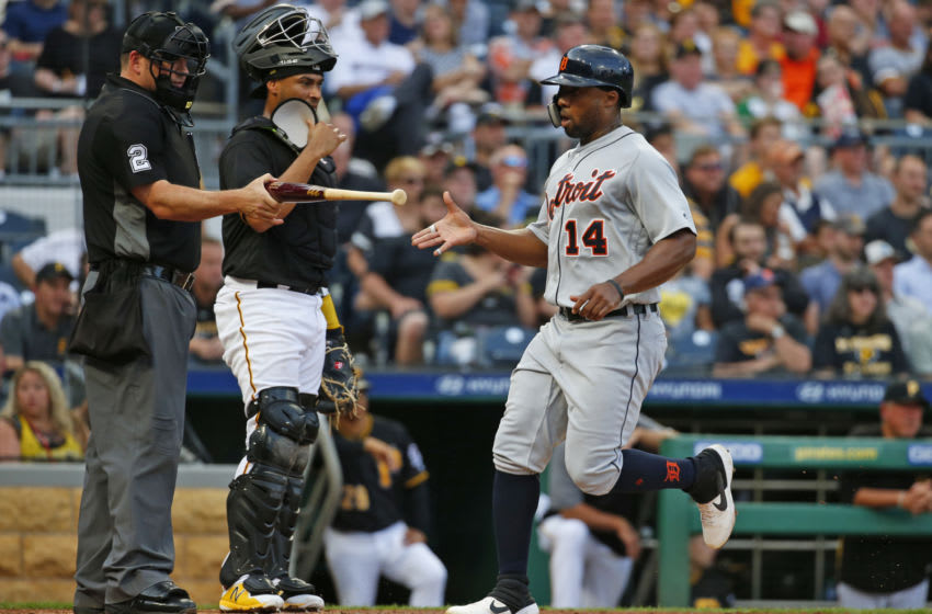 PITTSBURGH, PA - JUNE 19: Christin Stewart #14 of the Detroit Tigers scores on a two RBI double in the third inning against the Pittsburgh Pirates during inter-league play at PNC Park on June 19, 2019 in Pittsburgh, Pennsylvania. (Photo by Justin K. Aller/Getty Images)