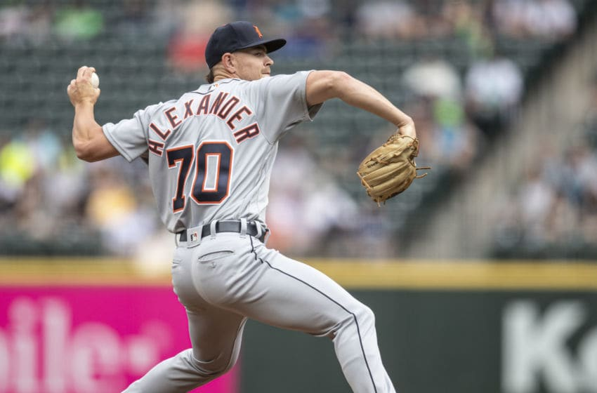 SEATTLE, WA - JULY 27: Starter Tyler Alexander #70 of the Detroit Tigers delivers a pitch during the first inning of a game against the Seattle Mariners at T-Mobile Park on July 27, 2019 in Seattle, Washington. (Photo by Stephen Brashear/Getty Images)