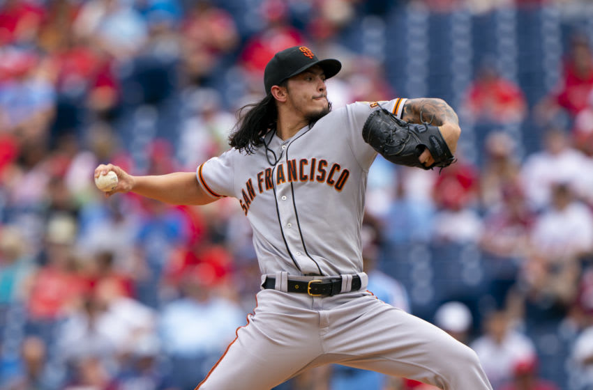 PHILADELPHIA, PA - AUGUST 01: Dereck Rodriguez #57 of the San Francisco Giants throws a pitch in the bottom of the first inning against the Philadelphia Phillies at Citizens Bank Park on August 1, 2019 in Philadelphia, Pennsylvania. (Photo by Mitchell Leff/Getty Images)