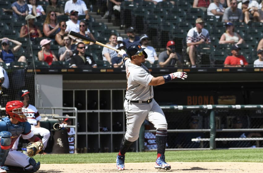 CHICAGO, ILLINOIS - JULY 04: Miguel Cabrera #24 of the Detroit Tigers hits a home run against the Chicago White Sox during the seventh inning at Guaranteed Rate Field on July 04, 2019 in Chicago, Illinois. (Photo by David Banks/Getty Images)