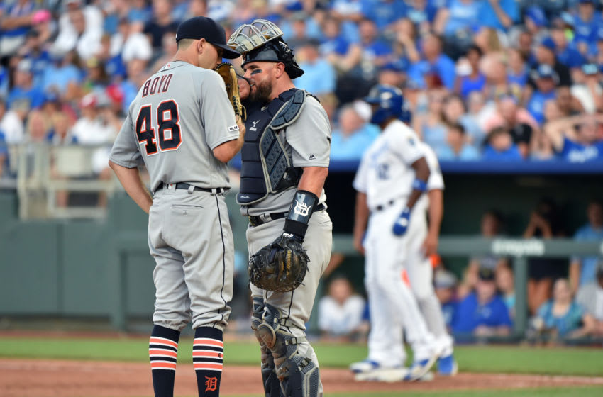 KANSAS CITY, MISSOURI - JULY 13: Starting pitcher Matthew Boyd #48 of the Detroit Tigers talks with catcher Bobby Wilson #37 in the sixth inning against the Kansas City Royals at Kauffman Stadium on July 13, 2019 in Kansas City, Missouri. (Photo by Ed Zurga/Getty Images)