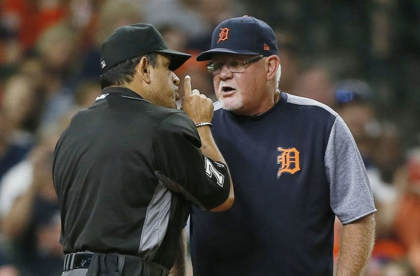 HOUSTON, TEXAS - AUGUST 19: Manager Ron Gardenhire #15 of the Detroit Tigers is ejected from the game against the Houston Astros in the fifth inning by home plate umpire Alfonso Marquez #72 at Minute Maid Park on August 19, 2019 in Houston, Texas. (Photo by Bob Levey/Getty Images)
