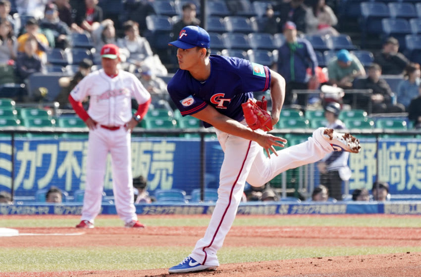 CHIBA, JAPAN - NOVEMBER 11: Pitcher Chiang Shao-Ching #71 of Chinese Taipei throws in the bottom of 1st inning during the WBSC Premier 12 Super Round game between Mexico and Chinese Taipei at the Zozo Marine Stadium on November 11, 2019 in Chiba, Japan. (Photo by Koji Watanabe/Getty Images)