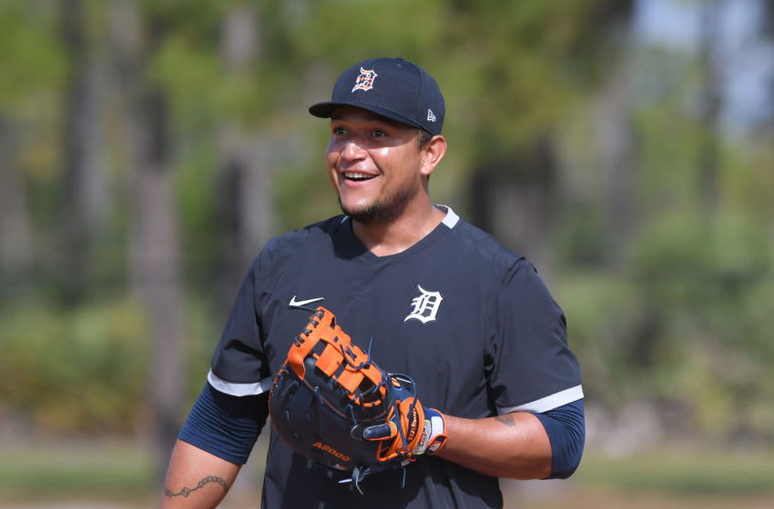 LAKELAND, FL - FEBRUARY 17: Miguel Cabrera #24 of the Detroit Tigers looks on and smiles during Spring Training workouts at the TigerTown Facility on February 17, 2020 in Lakeland, Florida. (Photo by Mark Cunningham/MLB Photos via Getty Images)