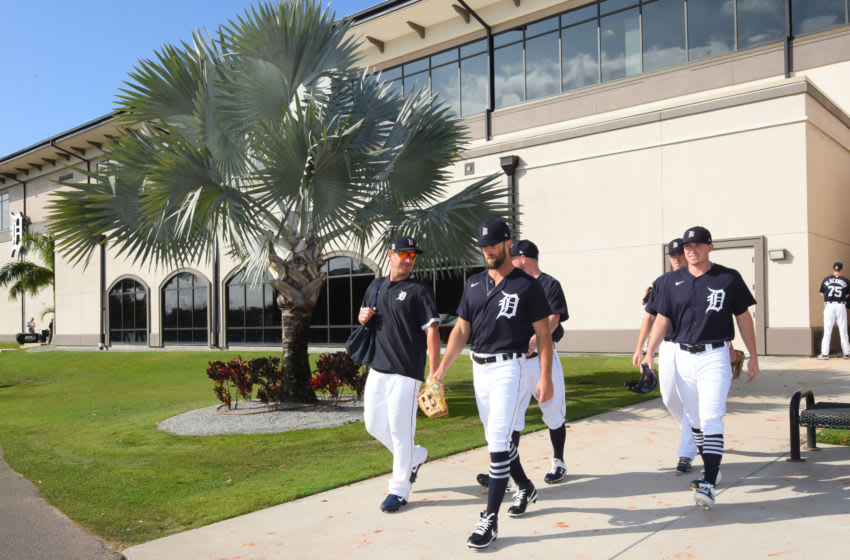 LAKELAND, FL - FEBRUARY 17: Detroit Tigers players walk to the field during Spring Training workouts at the TigerTown Facility on February 17, 2020 in Lakeland, Florida. (Photo by Mark Cunningham/MLB Photos via Getty Images)
