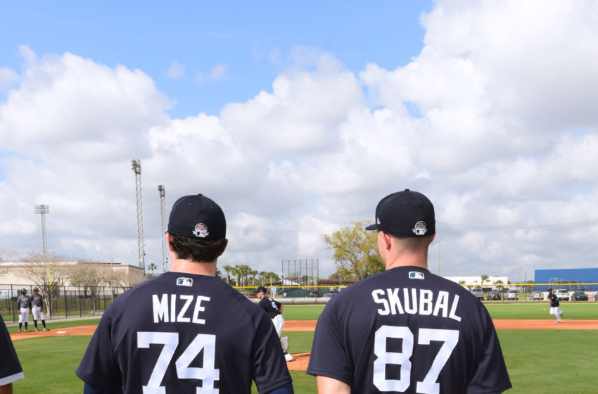 LAKELAND, FL - FEBRUARY 17: Casey Mize #74 and Tarik Skubal #87 of the Detroit Tigers stand together during Spring Training workouts at the TigerTown Facility on February 17, 2020 in Lakeland, Florida. (Photo by Mark Cunningham/MLB Photos via Getty Images)
