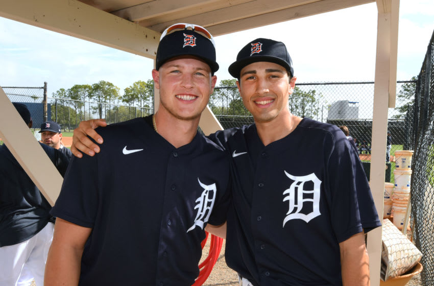LAKELAND, FL - FEBRUARY 19: Matt Manning #83 (L) and Alex Faedo #76 of the Detroit Tigers pose for a photo during Spring Training workouts at the TigerTown Facility on February 19, 2020 in Lakeland, Florida. (Photo by Mark Cunningham/MLB Photos via Getty Images)
