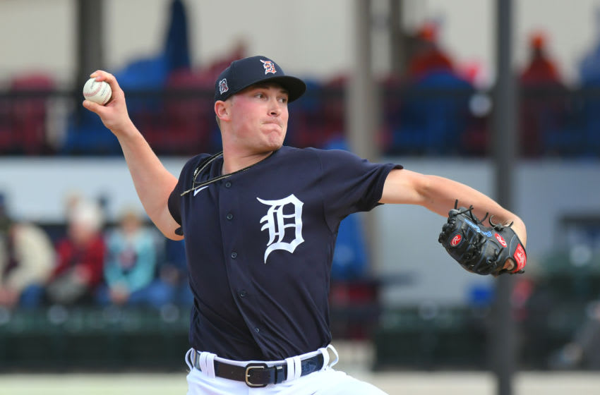 LAKELAND, FL - FEBRUARY 22: Beau Burrows #37 of the Detroit Tigers pitches during the Spring Training game against the Philadelphia Phillies at Publix Field at Joker Marchant Stadium on February 22, 2020 in Lakeland, Florida. The game ended in an 8-8 tie. (Photo by Mark Cunningham/MLB Photos via Getty Images)