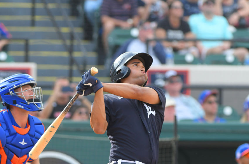 LAKELAND, FL - FEBRUARY 25: Riley Greene #53 of the Detroit Tigers hits a two-run home run in the eighth inning of the Spring Training game against the New York Mets at Publix Field at Joker Marchant Stadium on February 25, 2020 in Lakeland, Florida. The Tigers defeated the Mets 9-6. (Photo by Mark Cunningham/MLB via Getty Images)