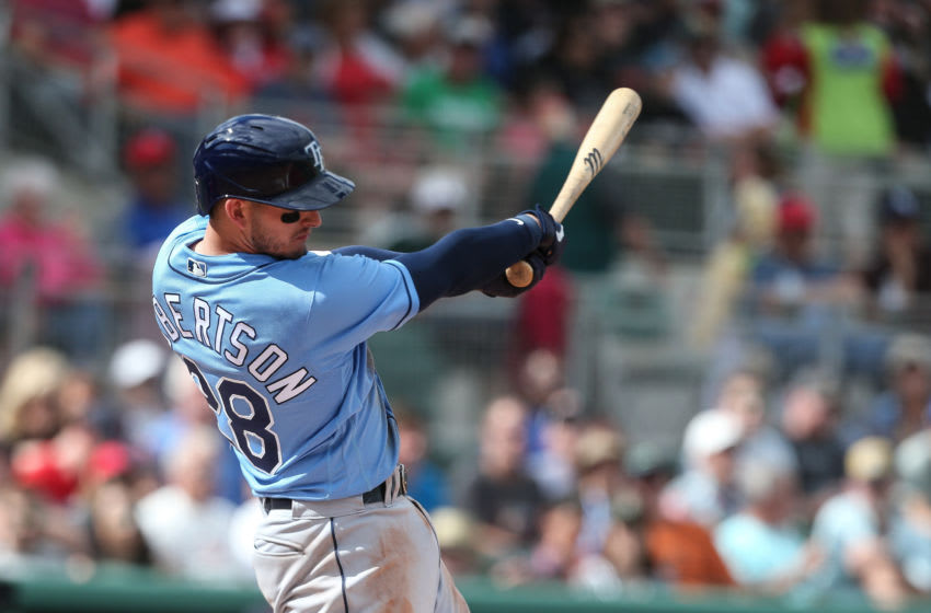 FORT MYERS, FL - FEBRUARY 22: Daniel Robertson #28 of the Tampa Bay Rays bats against the Boston Red Sox during a MLB spring training game on February 22, 2020 at JetBlue Park in Fort Myers, Florida (Photo by John Capella/Sports Imagery/Getty Images)