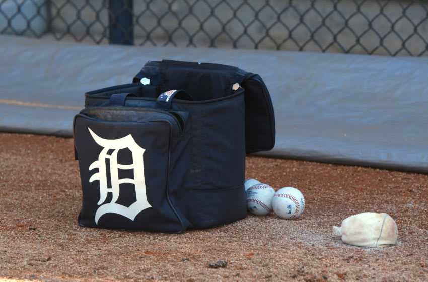 LAKELAND, FL - FEBRUARY 28: A Detroit Tigers equipment bag sits on the field prior to the Spring Training game against the Toronto Blue Jays at Publix Field at Joker Marchant Stadium on February 28, 2020 in Lakeland, Florida. The Blue Jays defeated the Tigers 5-4. (Photo by Mark Cunningham/MLB Photos via Getty Images)