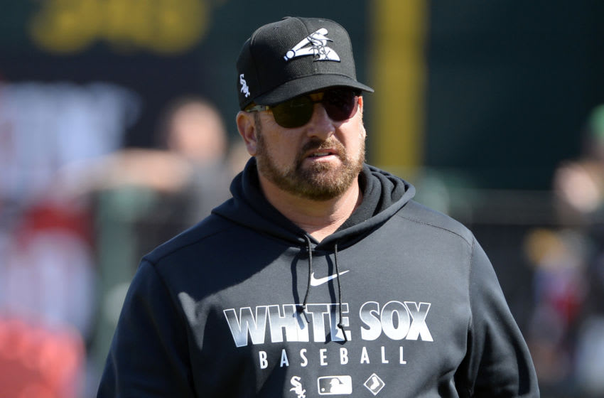 GOODYEAR, ARIZONA - FEBRUARY 23: Assistant batting coach Scott Coolbaugh #46 of the Chicago White Sox looks on against the Cincinnati Reds on February 23, 2020 at Goodyear Ballpark in Goodyear, Arizona. (Photo by Ron Vesely/Getty Images)