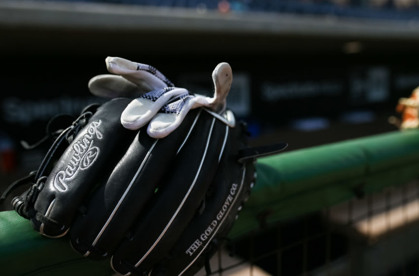 CLEARWATER, FL - FEBRUARY 24: A Rawlings glove is seen during a spring training game between the Philadelphia Phillies and the Baltimore Orioles at Spectrum Field on February 24, 2020 in Clearwater, Florida. (Photo by Carmen Mandato/Getty Images)