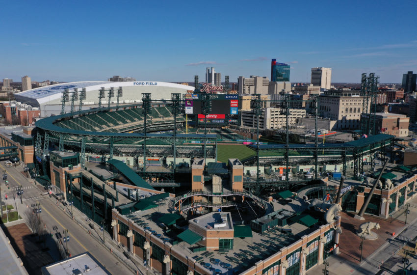 View of the Detroit Tigers' Comerica Park. (Photo by Gregory Shamus/Getty Images)