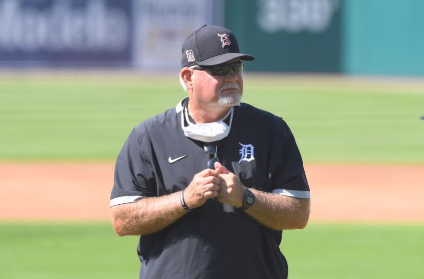 DETROIT, MI - JULY 03: Manager Ron Gardenhire #15 of the Detroit Tigers looks on during the Detroit Tigers Summer Workouts at Comerica Park on July 3, 2020 in Detroit, Michigan. (Photo by Mark Cunningham/MLB Photos via Getty Images)