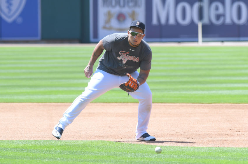 DETROIT, MI - JULY 03: Miguel Cabrera #24 of the Detroit Tigers fields during the Detroit Tigers Summer Workouts at Comerica Park on July 3, 2020 in Detroit, Michigan. (Photo by Mark Cunningham/MLB Photos via Getty Images)