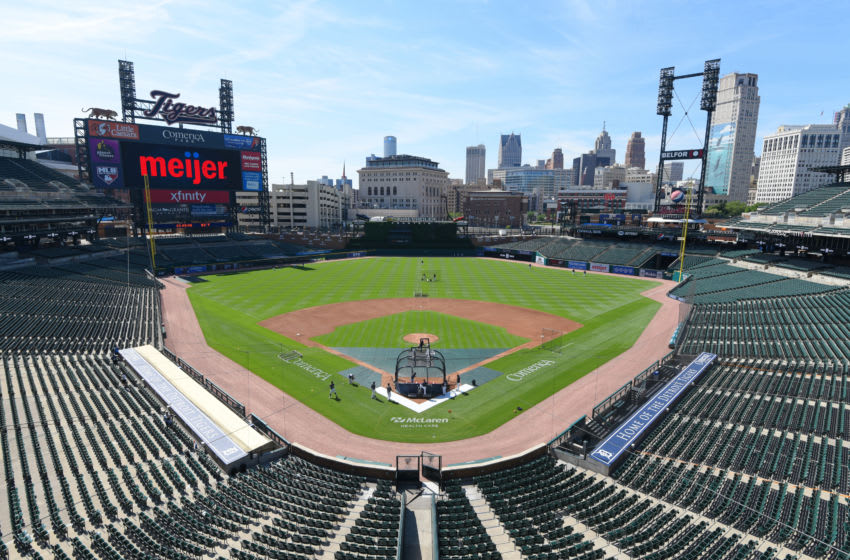 DETROIT, MI - JULY 05: A general view of Comerica Park while players practice during the Detroit Tigers Summer Workouts at Comerica Park on July 5, 2020 in Detroit, Michigan. (Photo by Mark Cunningham/MLB Photos via Getty Images)