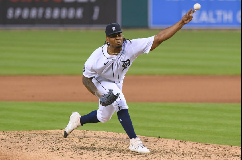 DETROIT, MI - JULY 31: Gregory Soto #65 of the Detroit Tigers pitches during the game against the Cincinnati Reds at Comerica Park on July 31, 2020 in Detroit, Michigan. The Tigers defeated the Reds 7-2. (Photo by Mark Cunningham/MLB Photos via Getty Images)