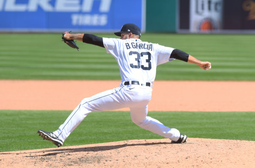 DETROIT, MI - AUGUST 12: Bryan Garcia #33 of the Detroit Tigers pitches during the game against the Chicago White Sox at at Comerica Park on August 12, 2020 in Detroit, Michigan. The White Sox defeated the Tigers 7-5. (Photo by Mark Cunningham/MLB Photos via Getty Images)
