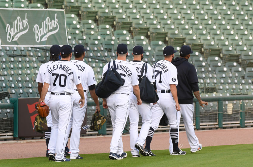 DETROIT, MI - AUGUST 25: Detroit Tigers pitchers walk to the bullpen prior to the start of the game against the Chicago Cubs at Comerica Park on August 24, 2020 in Detroit, Michigan. The Cubs defeated the Tigers 9-3. (Photo by Mark Cunningham/MLB Photos via Getty Images)