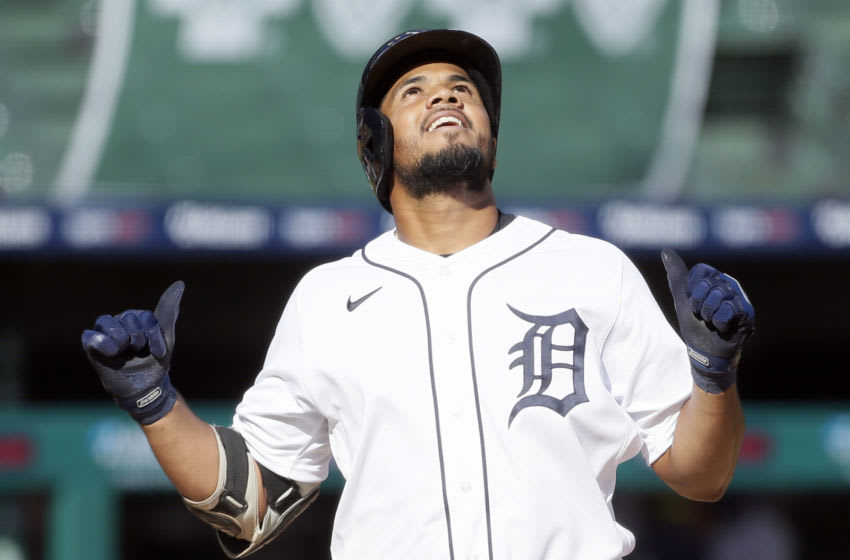 Jeimer Candelario #42 of the Detroit Tigers celebrates after hitting a two-run home run against the Minnesota Twins during the third inning of game two of a doubleheader at Comerica Park on August 29, 2020, in Detroit, Michigan. All players are wearing #42 in honor of Jackie Robinson Day. The day honoring Jackie Robinson, traditionally held on April 15, was rescheduled for August 28 due to the COVID-19 pandemic. Due to Friday's postponed game, Robinson will be honored during todays game. (Photo by Duane Burleson/Getty Images)