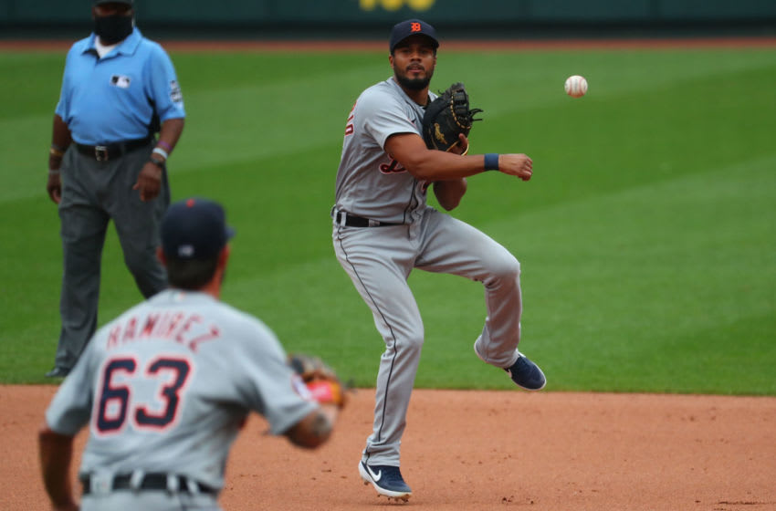 ST LOUIS, MO - SEPTEMBER 10: Jeimer Candelario #46 of the Detroit Tigers throws to first base for an out against the St. Louis Cardinals in the fifth inning during game one of a doubleheader at Busch Stadium on September 10, 2020 in St Louis, Missouri. (Photo by Dilip Vishwanat/Getty Images)