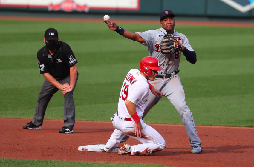 ST LOUIS, MO - SEPTEMBER 10: Jonathan Schoop #8 of the Detroit Tigers turns a double play over Tommy Edman #19 in the first inning during game two of a doubleheader at Busch Stadium on September 10, 2020 in St Louis, Missouri. (Photo by Dilip Vishwanat/Getty Images)
