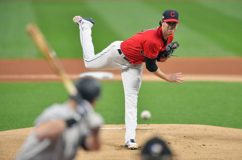 CLEVELAND, OHIO - SEPTEMBER 29: Starting pitcher Shane Bieber #57 of the Cleveland Indians pitches to DJ LeMahieu #26 of the New York Yankees during Game One of the American League Wild Card Series at Progressive Field on September 29, 2020 in Cleveland, Ohio. (Photo by Jason Miller/Getty Images)