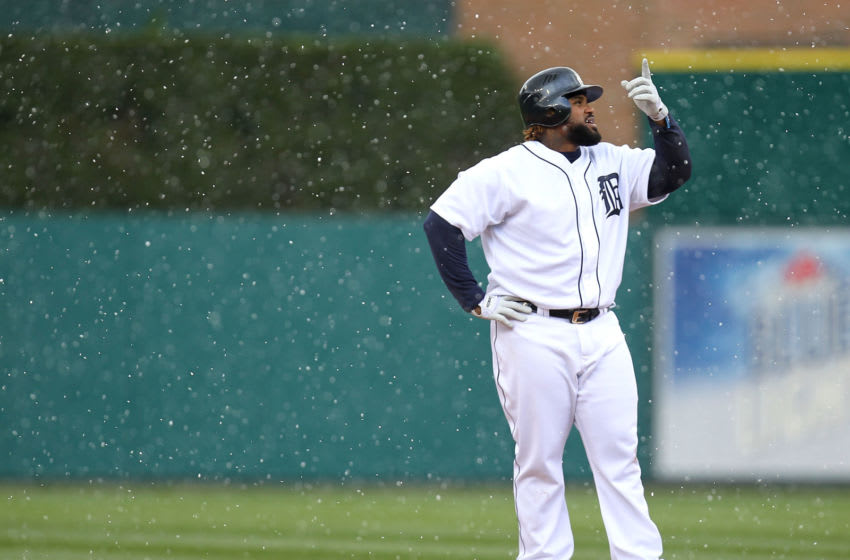 DETROIT, MI - APRIL 10: Prince Fielder #28 of the Detroit Tigers looks points to snow falling after hitting a eighth inning RBI double while playing the Tampa Bay Rays at Comerica Park on April 10, 2012 in Detroit, Michigan. Detroit won the game 5-2. (Photo by Gregory Shamus/Getty Images)
